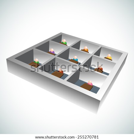 An image of 3d office cubicles - stock vector