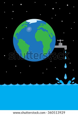 An image of Earth with a tap leaking water in space. A metaphor on global water waste. - stock vector