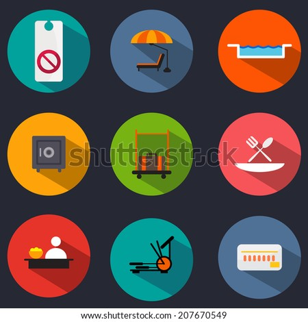 An image of flat hotel icons. - stock vector