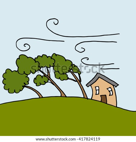 An image of heavy winds bending trees on a windy day. - stock vector