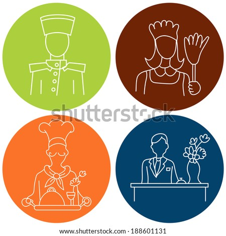 An image of hotel staff. - stock vector