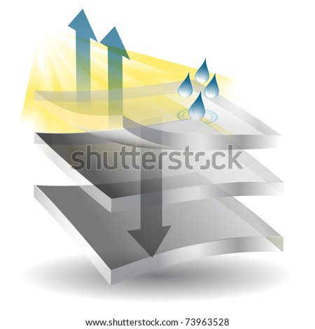 An image of moisture being evaporating from material. - stock vector