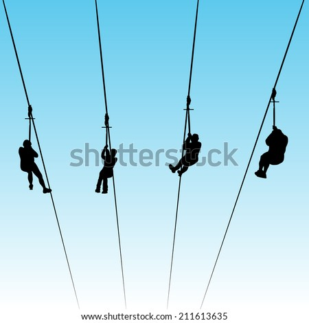 An image of people in a zip line race. - stock vector