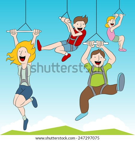 An image of people riding a zip line. - stock vector