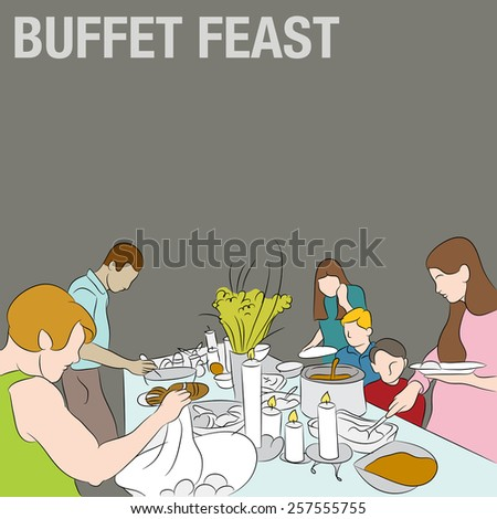 An image of people serving their plates from a holiday buffet table. - stock vector