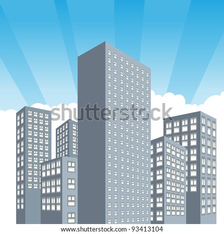 An image of sunrise on a downtown city of buildings. - stock vector