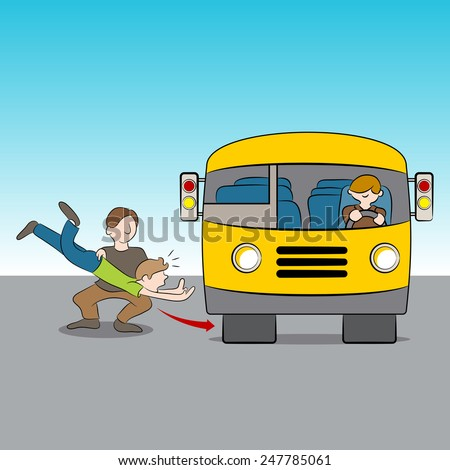 An image of the metaphor of being thrown under the bus. Metaphor for a betrayal.  - stock vector