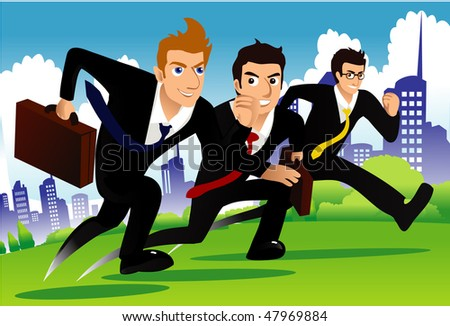 An image of three businessmen running as if they are racing one another - stock vector
