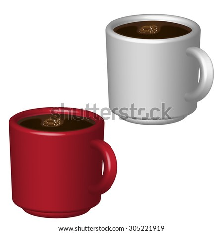 an image of two cups of coffee by volume on a white background - stock vector
