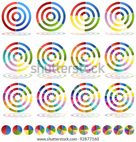 An image of two through thirteen segmented arrow wheel target icons. - stock vector
