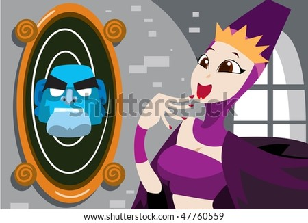 An image of young queen standing in front of a magic mirror