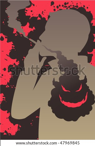 An image showing a silhouette of man smoking a cigarette while the smoke is going into his chest and forming an evil and demonic looking face - stock vector