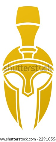 An imposing Spartan or Trojan helmet from the side icon - stock vector