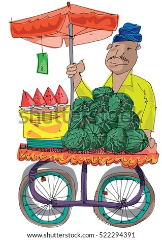An indian street vendor selling watermelons - cartoon