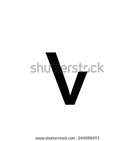 An Individual Alphabet Character of a Custom Font - Lowercase V - stock vector