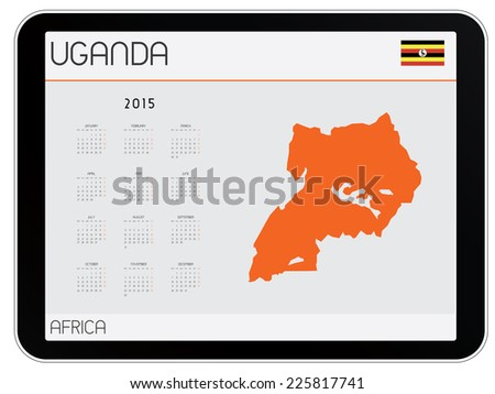 An Infographic Calendar for the Country of Uganda - stock vector