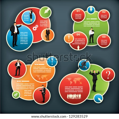 An infographic template for corporate and business with spherical elements and people illustrations - stock vector
