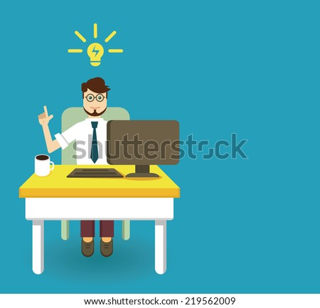 An innovation idea of employee with copyspace for text - vector illustration - stock vector