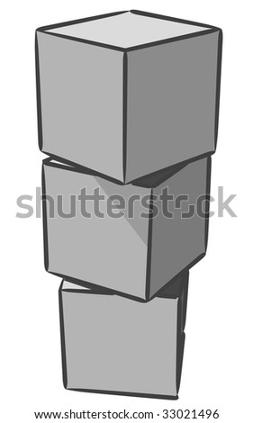 An interestingly uninspiring uniquely stacked common blocks. - stock vector