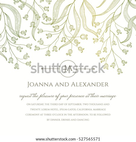 Invite Template Floral Branches Flowing Down Stock Vector