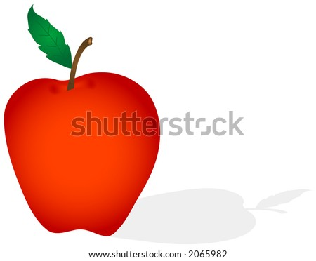 An isolated apple with drop shadow. Illustration in easily editable and scalable vector format.