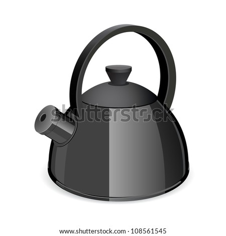An isolated black tea kettle on a white background. Vector