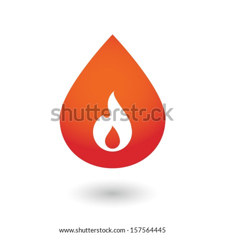An isolated blood drop with icon - stock vector