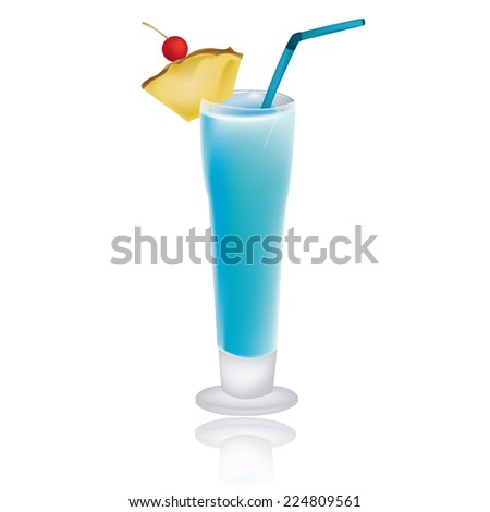 an isolated blue cocktail on a white background