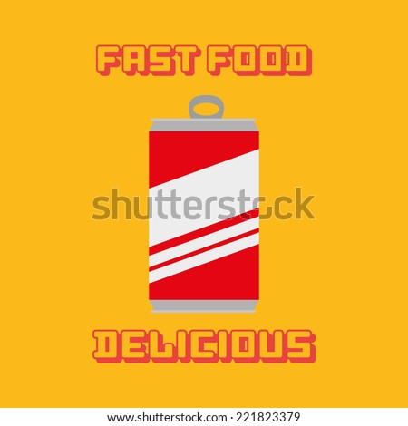 an isolated can of cold drink on a yellow background with text - stock vector