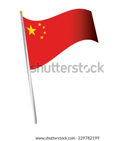 an isolated chinese flag on a white background