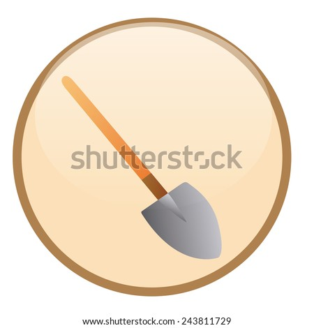 an isolated construction label with a shovel icon