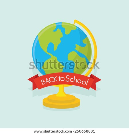 an isolated globe with our planet and a ribbon with text on a colored background - stock vector