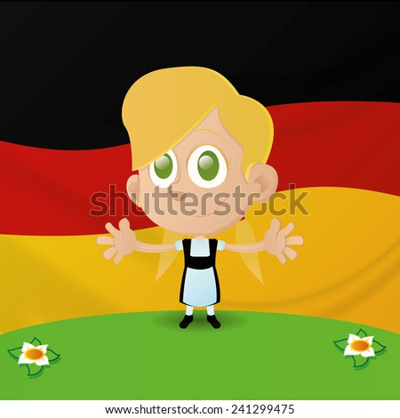 an isolated happy girl with the german flag on the background