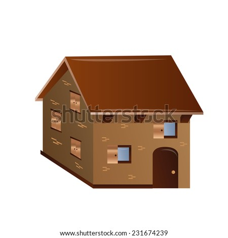 an isolated house on a white background - stock vector