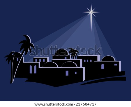 isolated illustration town bethlehem night time stock vector rh shutterstock com Clip Art Nativity Scence Innkeeper Clip Art