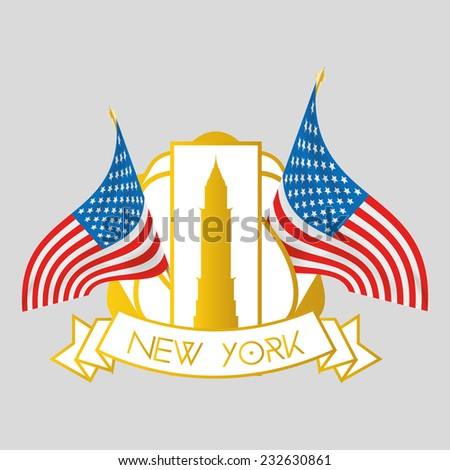 an isolated label with a pair of american flags and the chrysler building - stock vector