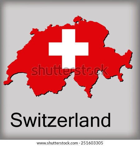 an isolated map of switzerland with its flag and text
