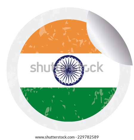 an isolated round label with the indian flag