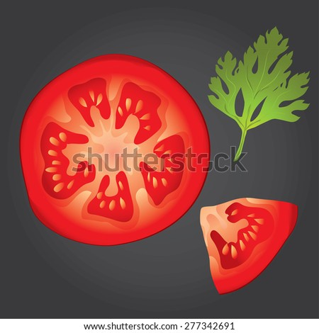 An isolated vector tomato and slice
