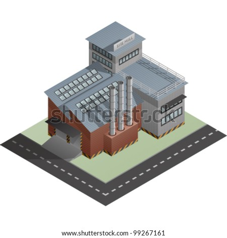 An isometric artwork of an industrial site mill building saved as an EPS version 10. - stock vector