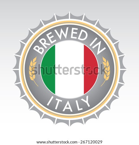 An Italian beer cap crest in vector format. The bottle cap features the Italian flag flanked by two golden wheat icons. - stock vector