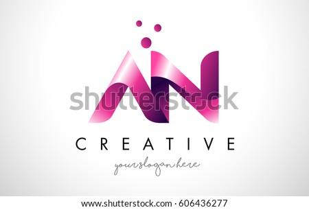 letter logo design template purple colorsのベクター画像素材