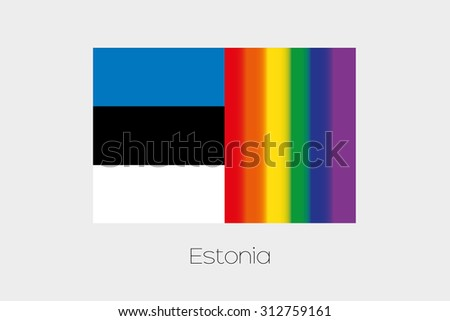 An LGBT Flag Illustration with the flag of Estonia - stock vector