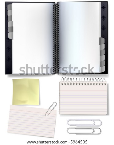 An office stationary set. Paper clips, Notebook, Yellow Paper, Index Card, Spiral bindings - stock vector