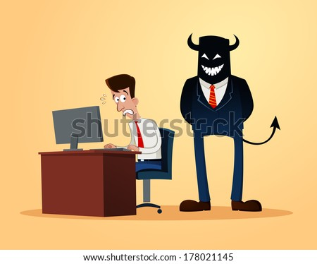 an office worker get scared when supervised - stock vector