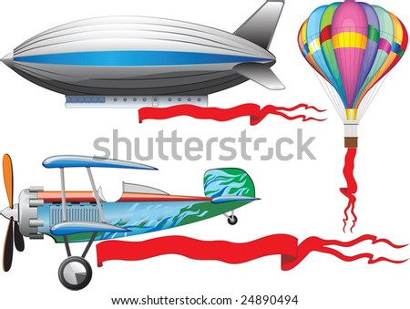 An old airplane, a balloon and airship - stock vector