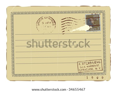 An old letter with a postcard stamp. - stock vector