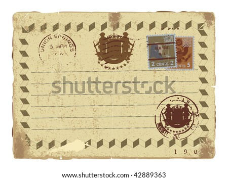 An old letter with a postcard stamp.