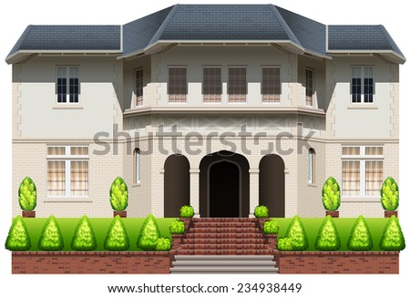 An old mansion on a white background  - stock vector