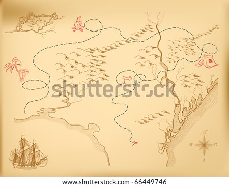 An old map of the island, indicating the route. Vector. - stock vector